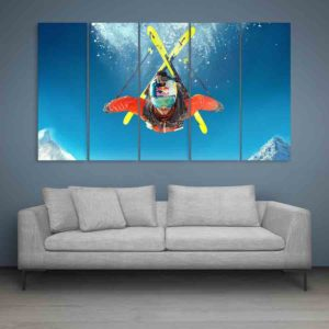 Multiple Frames Steep Skiing Wall Painting for Living Room, Bedroom, Office, Hotels, Drawing Room (150cm X 76cm)