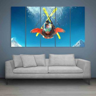 Multiple Frames Steep Skiing Wall Painting (150cm X 76cm)