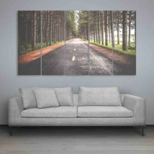 Multiple Frames Road In Woods Wall Painting for Living Room, Bedroom, Office, Hotels, Drawing Room (150cm X 76cm)