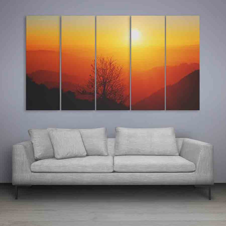 Multiple Frames Beautiful Sunrise Wall Painting 150cm X