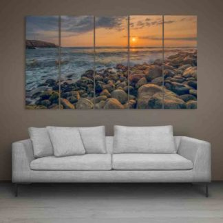 Multiple Frames Beautiful Ocean Sunset Wall Painting (150cm X 76cm)