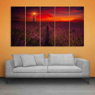 Multiple Frames Beautiful Flower Fields Wall Painting (150cm X 76cm)