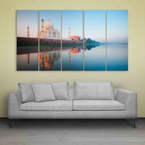 Multiple Frames Taj Mahal Beautiful Wall Painting for Living Room, Bedroom, Office, Hotels, Drawing Room (150cm X 76cm)