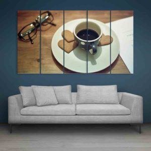 Multiple Frames Tea Cup Wall Painting for Living Room, Bedroom, Office, Hotels, Drawing Room (150cm X 76cm)