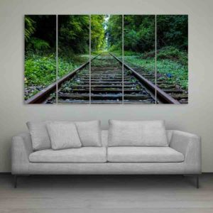 Multiple Frames Train Track Wall Painting for Living Room, Bedroom, Office, Hotels, Drawing Room (150cm X 76cm)
