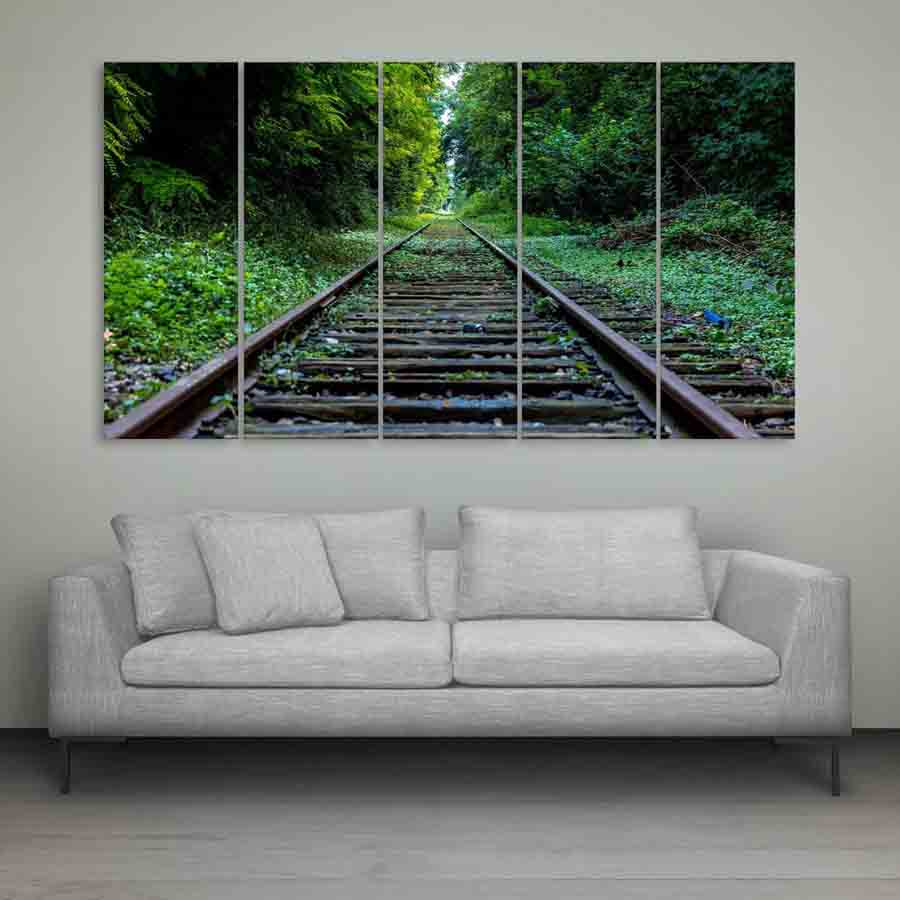Multiple Frames Train Track Wall Painting For Living Room