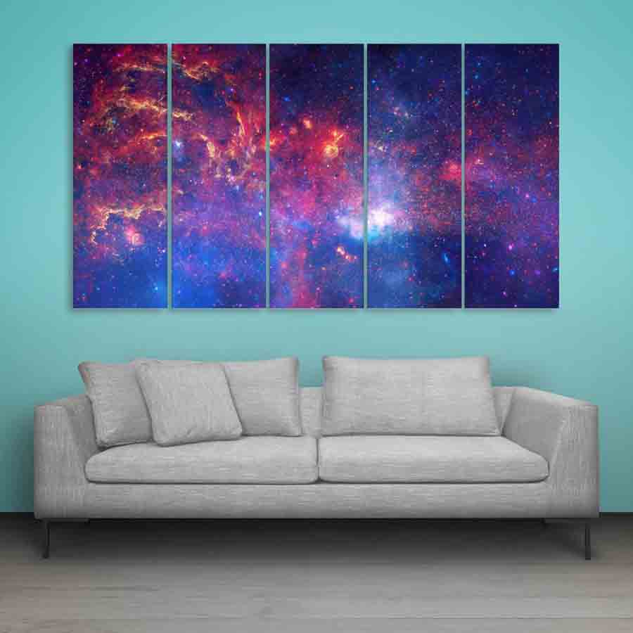 Multiple Frames Space Universe Wall Painting For Living Room Bedroom Office Hotels Drawing Room 150cm X 76cm