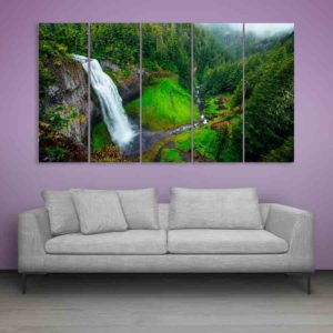 Multiple Frames Water Fountain Wall Painting for Living Room, Bedroom, Office, Hotels, Drawing Room (150cm X 76cm)