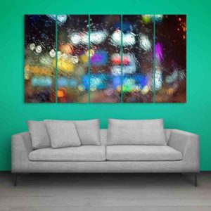 Multiple Frames Water On Glass Wall Painting for Living Room, Bedroom, Office, Hotels, Drawing Room (150cm X 76cm)