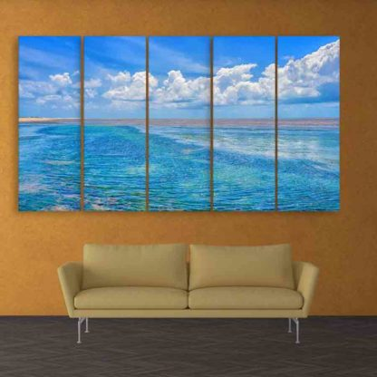 Multiple Frames Beautiful Beach Wall Painting (150cm X 76cm)
