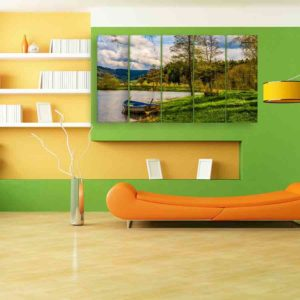 Multiple Frames Scenic Boat Wall Painting for Living Room, Bedroom, Office, Hotels, Drawing Room (150cm X 76cm)