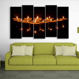 Multiple Frames Beautiful Candle Lights Wall Painting (150cm X 76cm)