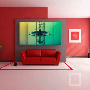Multiple Frames Water Droplet Wall Painting for Living Room, Bedroom, Office, Hotels, Drawing Room (150cm X 76cm)