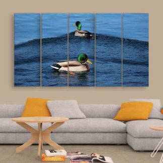 Multiple Frames Beautiful Ducks Wall Painting (150cm X 76cm)