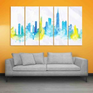 Multiple Frames Chicago Skyline Wall Painting for Living Room, Bedroom, Office, Hotels, Drawing Room (150cm X 76cm)