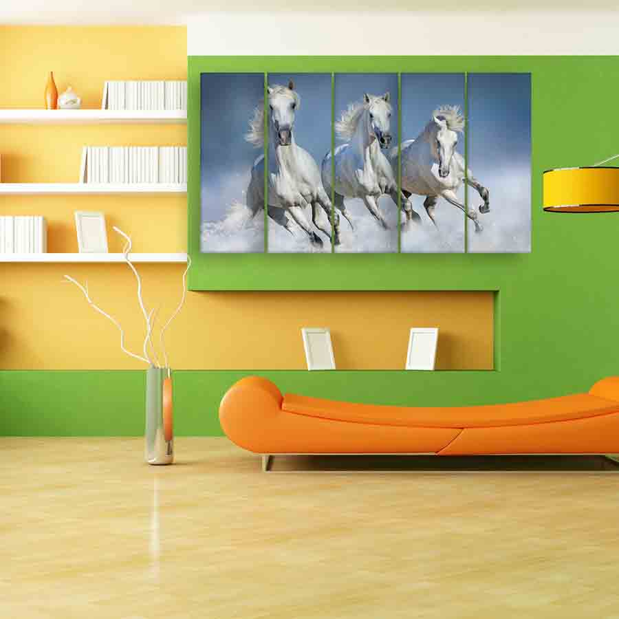 Multiple Frames Running Horses Wall Painting (150cm X 76cm) - Inephos