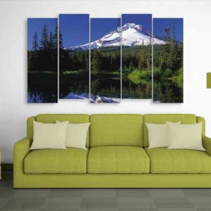 Multiple Frames Nature Mountains Wall Painting for Living Room, Bedroom, Office, Hotels, Drawing Room (150cm X 76cm)