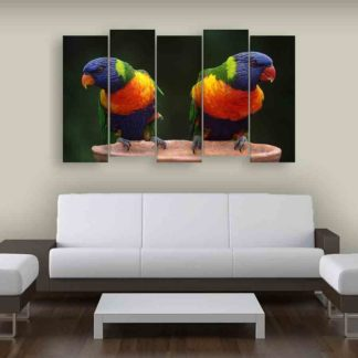 Multiple Frames Beautiful Parrots Wall Painting (150cm X 76cm)