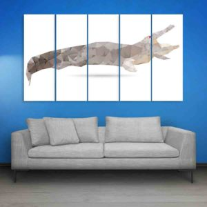 Multiple Frames Crocodile Abstract Wall Painting for Living Room, Bedroom, Office, Hotels, Drawing Room (150cm X 76cm)
