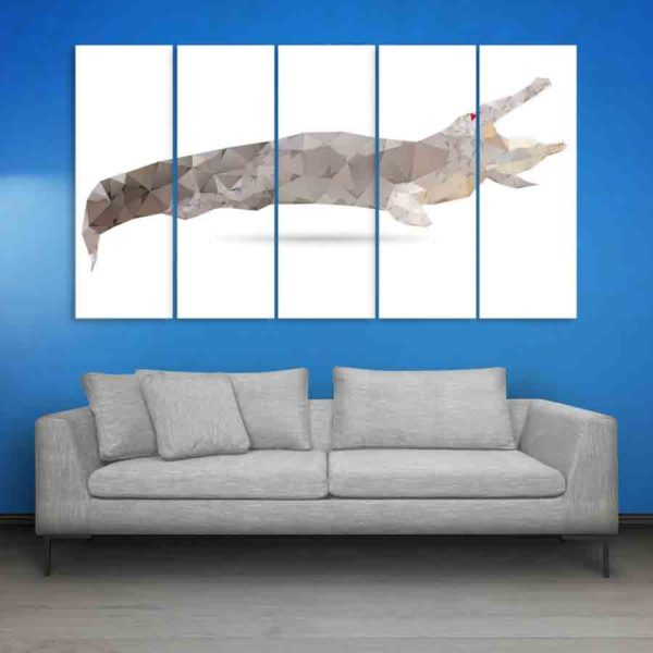 Multiple Frames Crocodile Abstract Wall Painting (150cm X 76cm)