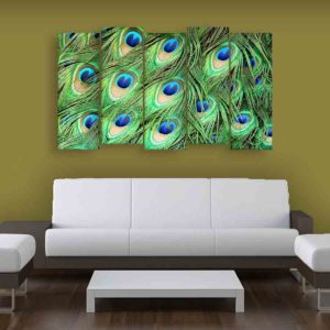 Multiple Frames Peacock Feathers Wall Painting for Living Room, Bedroom, Office, Hotels, Drawing Room (150cm X 76cm)