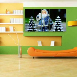 Multiple Frames Santa Claus Wall Painting for Living Room, Bedroom, Office, Hotels, Drawing Room (150cm X 76cm)