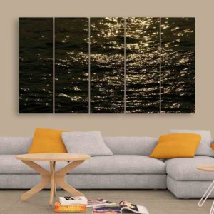 Multiple Frames Sea Waves Wall Painting for Living Room, Bedroom, Office, Hotels, Drawing Room (150cm X 76cm)