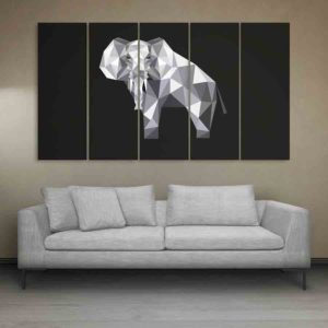 Multiple Frames Elephant Polygon Wall Painting for Living Room, Bedroom, Office, Hotels, Drawing Room (150cm X 76cm)