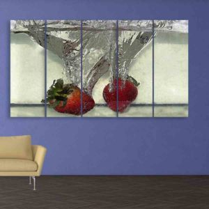 Multiple Frames Strawberries Wall Painting for Living Room, Bedroom, Office, Hotels, Drawing Room (150cm X 76cm)