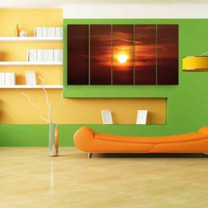 Multiple Frames Sunset Wall Painting for Living Room, Bedroom, Office, Hotels, Drawing Room (150cm X 76cm)