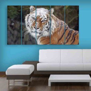 Multiple Frames Tiger Wall Painting for Living Room, Bedroom, Office, Hotels, Drawing Room (150cm X 76cm)