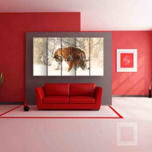 Multiple Frames Tiger Baby Wall Painting for Living Room, Bedroom, Office, Hotels, Drawing Room (150cm X 76cm)