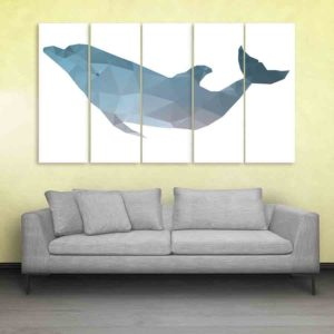 Multiple Frames Fish Polygon Wall Painting for Living Room, Bedroom, Office, Hotels, Drawing Room (150cm X 76cm)