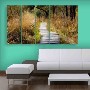 Multiple Frames Nature Wall Painting for Living Room, Bedroom, Office, Hotels, Drawing Room (150cm X 76cm)