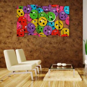Multiple Frames Smileys Wall Painting for Living Room, Bedroom, Office, Hotels, Drawing Room (150cm X 76cm)