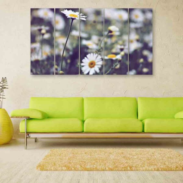Multiple Frames Beautiful Flowers Wall Painting (150cm X 76cm)