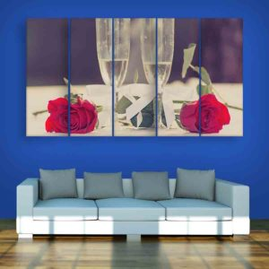 Multiple Frames Rose Wall Painting for Living Room, Bedroom, Office, Hotels, Drawing Room (150cm X 76cm)