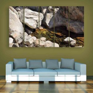 Multiple Frames Rocks Wall Painting for Living Room, Bedroom, Office, Hotels, Drawing Room (150cm X 76cm)