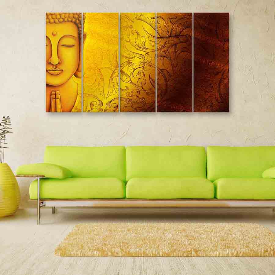 Multiple Frames Buddha Art Wall Painting (150cm X 76cm) - Inephos
