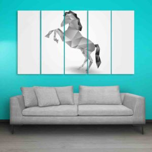 Multiple Frames Horse Polygon Wall Painting for Living Room, Bedroom, Office, Hotels, Drawing Room (150cm X 76cm)