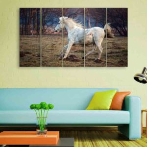 Multiple Frames Running Horse Wall Painting for Living Room, Bedroom, Office, Hotels, Drawing Room (150cm X 76cm)