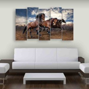 Multiple Frames Running Horses Wall Painting for Living Room, Bedroom, Office, Hotels, Drawing Room (150cm X 76cm)