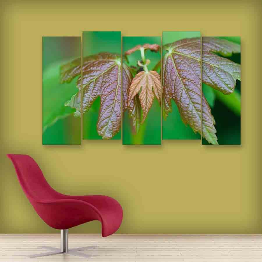 Multiple Frames Leaf Wall Painting (150cm X 76cm) - Inephos