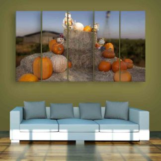 Multiple Frames Beautiful Pumpkins Wall Painting (150cm X 76cm)