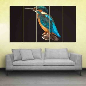 Multiple Frames Kingfisher Bird Polygon Wall Painting for Living Room, Bedroom, Office, Hotels, Drawing Room (150cm X 76cm)