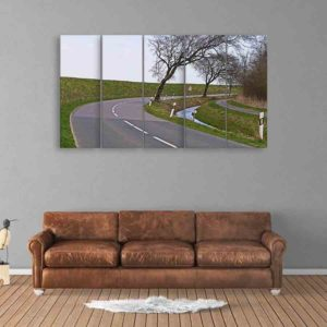 Multiple Frames Road Wall Painting for Living Room, Bedroom, Office, Hotels, Drawing Room (150cm X 76cm)