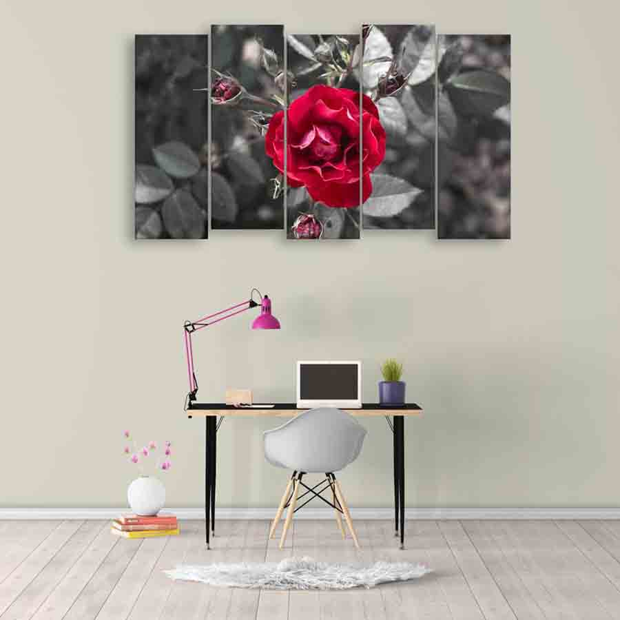 Multiple frames beautiful rose wall painting for living room bedroom office hotels drawing room 150cm x 76cm