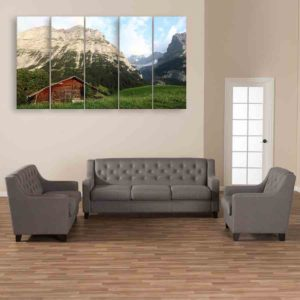 Multiple Frames Nature Scenery Wall Painting for Living Room, Bedroom, Office, Hotels, Drawing Room (150cm X 76cm)