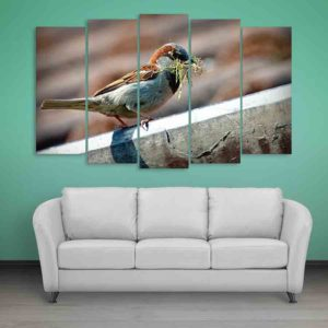 Multiple Frames Sparrow Wall Painting for Living Room, Bedroom, Office, Hotels, Drawing Room (150cm X 76cm)