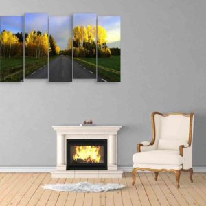 Multiple Frames Straight Road Wall Painting for Living Room, Bedroom, Office, Hotels, Drawing Room (150cm X 76cm)